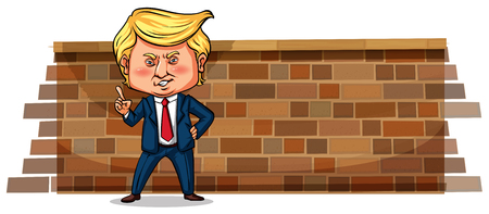 Editorial - Character sketch of Donald J. Trump, president of the USA, Janurary 2018 illustration Illustration