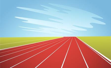 Ilustración de pista de atletismo y cielo azul