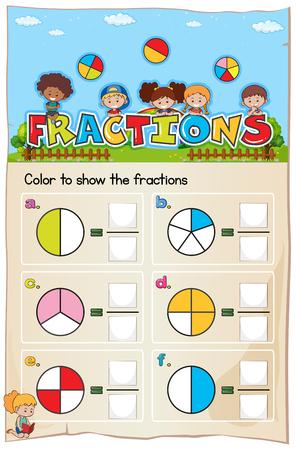 Hoja de trabajo de matemáticas Capítulo de fracciones con ilustración de imagen