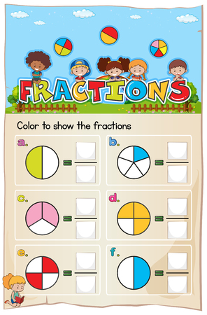 Mathematics Worksheet Fractions Chapter with Picture illustration Illustration