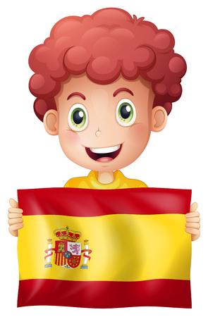 A Boy with Spanish Flag illustration