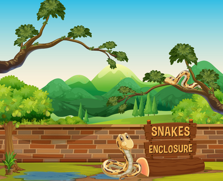 Zoo scene with snakes at day time illustration 向量圖像