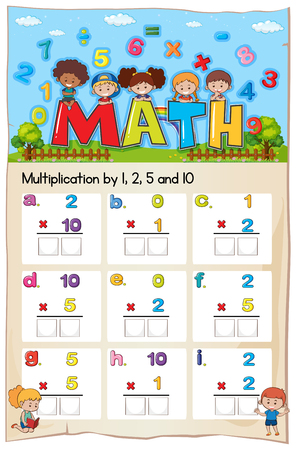 Mathematics Worksheet  Multiplication Number Chapter illustration
