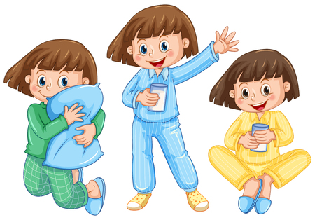 Happy Girl on Diffrent Pajamas illustration