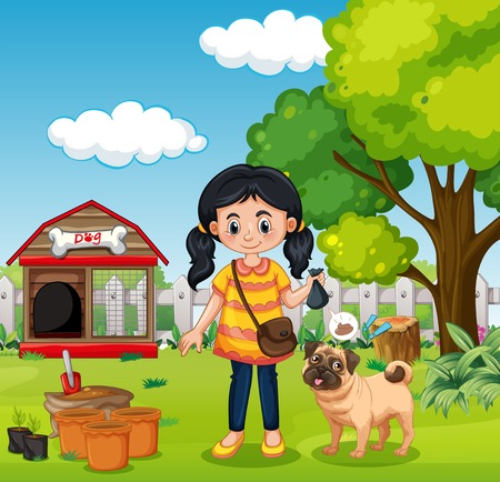A Girl Holding Natural Fertiliser illustration Illustration