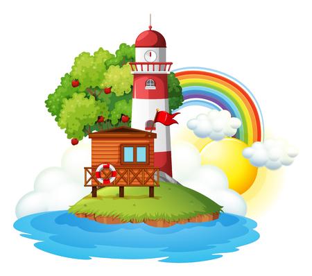 Lighthouse on a Beautiful Island illustration