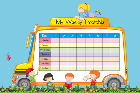 Weekly Timetable on School Bus Theme illustration Illustration