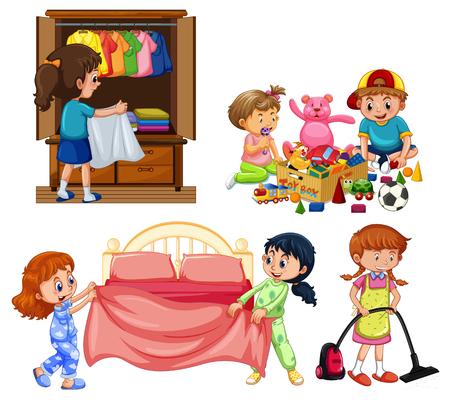 Buenos niños haciendo quehaceres domésticos en la ilustración de fondo blanco