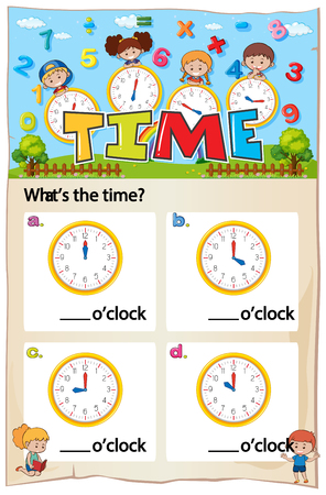 Mathematics Time Chapter Work Sheet illustration
