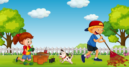 Brother and Sister Gardening in Sunny Day illustration