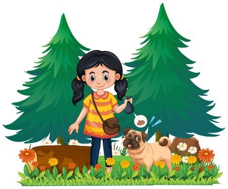 A Girl Pick Up Dog Poop illustration 向量圖像