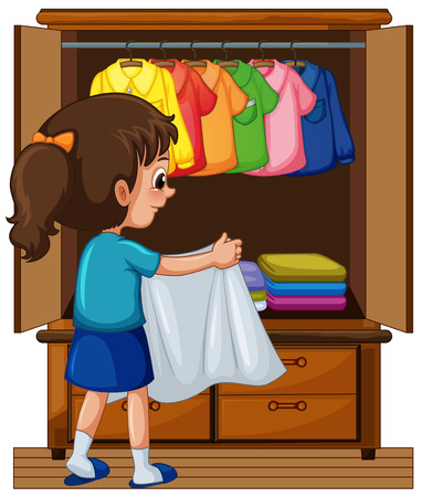 Girl putting away clothes in closet illustration
