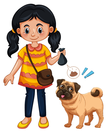A Girl Cleaning Dog Poop illustration