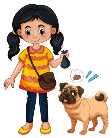 A Girl Cleaning Dog Poop illustration