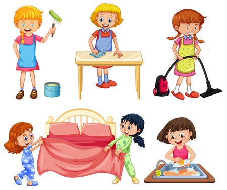 Girls doing different chores on white background illustration Illustration