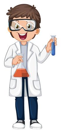 A Chemist Holding Beaker and Test Tube illustration 일러스트