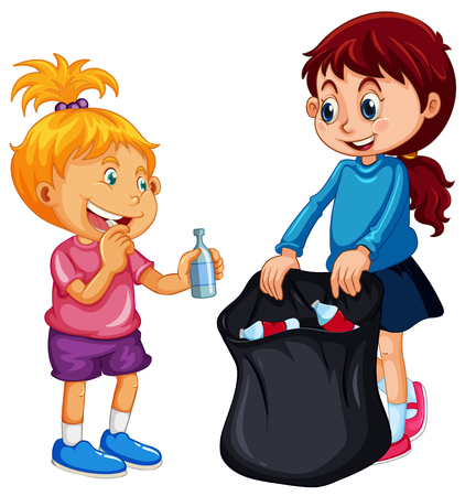 Good Kids Collecting Rubbish on White Background illustration