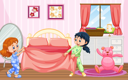 Girls in Pajamas Making Bed illustration