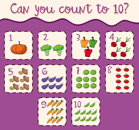 Mathematics Card Count 1 to 10 illustration Vettoriali