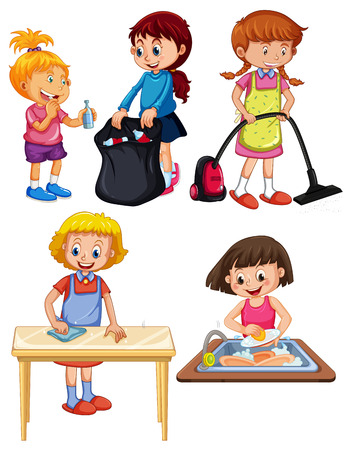 Children Doing Housework on white background illustration
