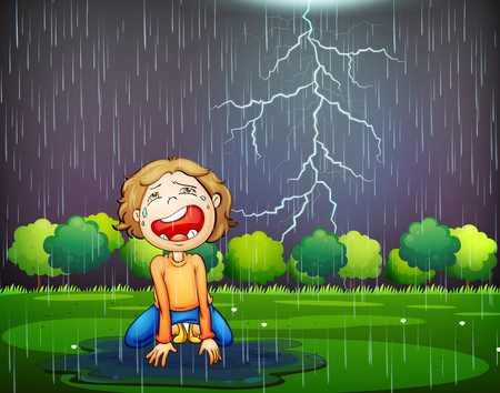A Crying Kid Lost in the Wood Rain illustration Illustration