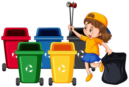 Girl Collecting Trash and Cleaning illustration