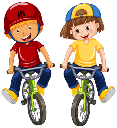 Urban Boys Riding Bicycle on White Background illustration
