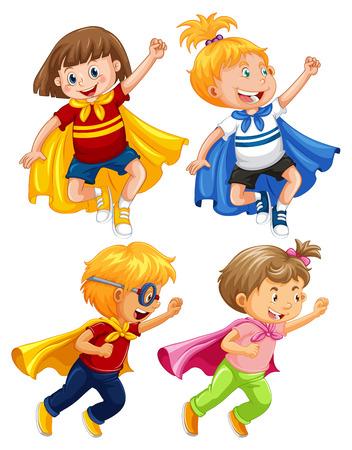 Superhero Kids Play Role on White Background illustration Illustration