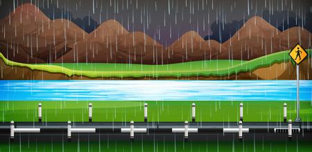 Raining at Night Road Side illustration