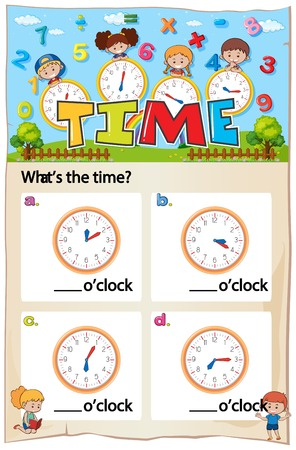 Mathematics Worksheet Time Chapter with Picture illustration