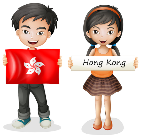 A Boy and Girl from Hong Kong illustration Иллюстрация