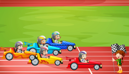 Formula One Racing in Stadium illustration