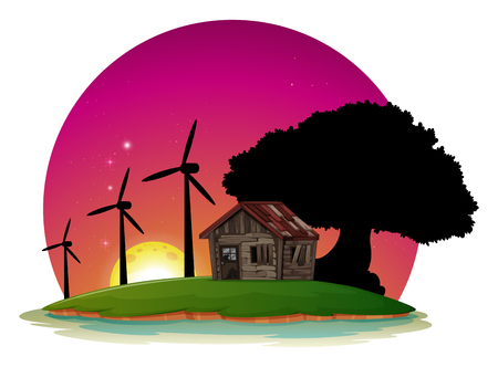 A Lakeside View with Windmill illustration