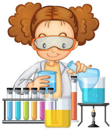 A Student in Science Lab Class illustration