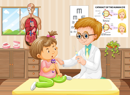 Pediatrist Doctor and Baby at Hospital illustration