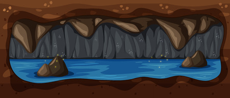 Dark Underground Cave River Scene illustration Illustration