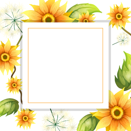 A Beautiful Sunflower Frame illustration  イラスト・ベクター素材