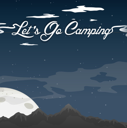 Camping At Night Clear Blue Sky illustration