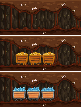 Cave Mine with Wooden Treasure Cart illustration