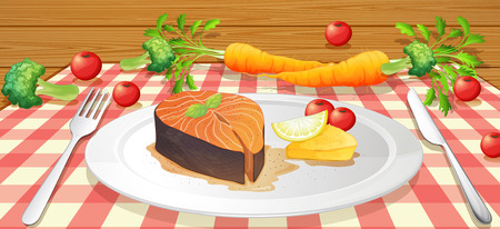 Salmon Stake with Fresh Vegetable illustration