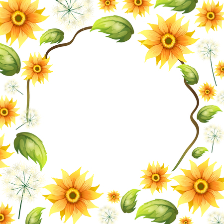 A Beautiful Sunflower Frame illustration 矢量图像