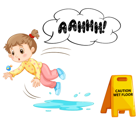 A Kid Slipping On Wet Floor illustration