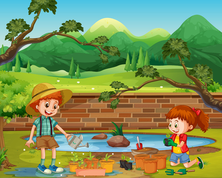 Kids Planting in the Garden illustration