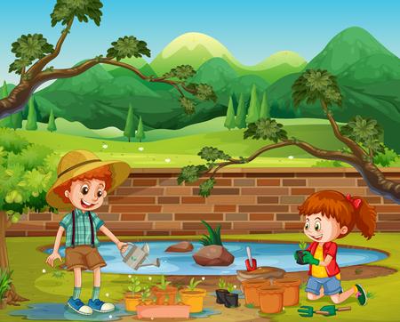 Kids Planting in the Garden illustration