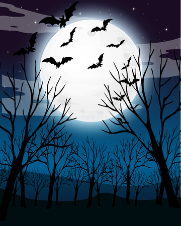 Scary Dark Night Forest Background illustration
