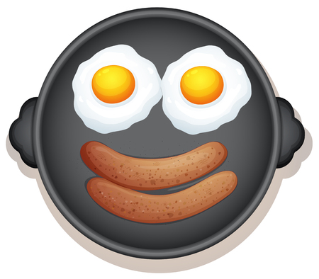 Sunny Side Up Eggs and Sausage Breakfast illustration