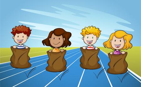 Jumping Sack Racing on Running Track illustration