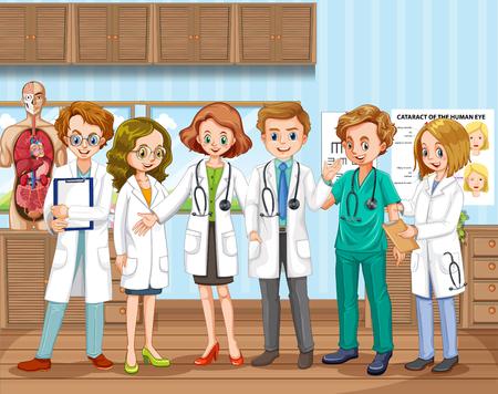Un equipo médico en la ilustración del hospital Ilustración de vector