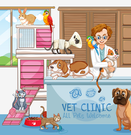 Veterinarian Doctor with Cats and Dogs at Clinic illustration