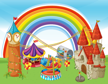 An Amusement Park and Rainbow illustration
